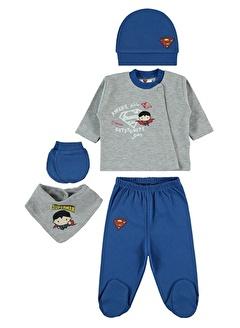 Superman Superman Erkek Bebek 5'li Zıbın Takımı Yenidoğan Saks Mavisi Superman Erkek Bebek 5'li Zıbın Takımı Yenidoğan Saks Mavisi